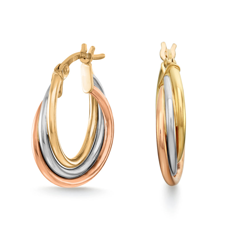 Rose, Yellow & White Gold Hoop Earrings