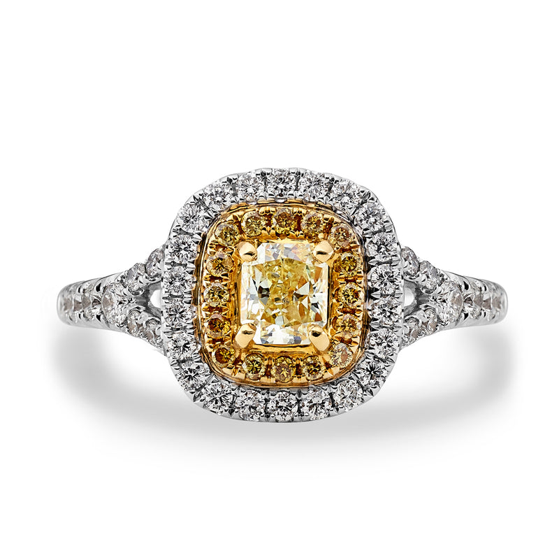 Yellow Diamond Double Halo Engagement Ring
