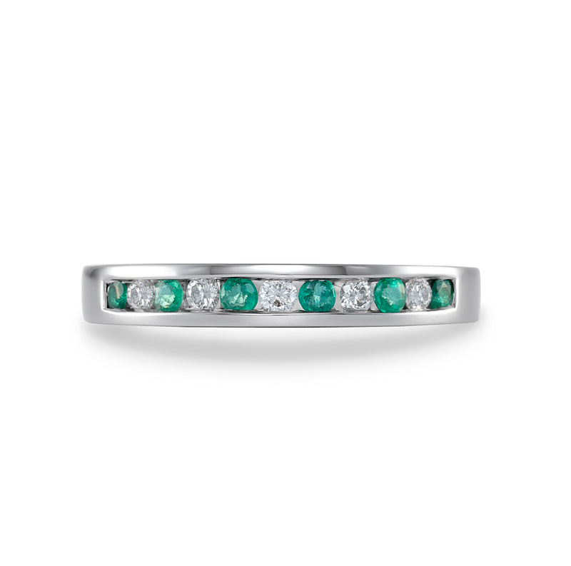Dracakis 18ct White Gold Emerald & Diamond Ring