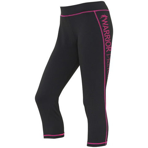 Warrior Princess Premium Black Capris with Pink Stitch