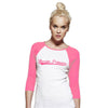 Baseball Style Warrior Princess 3/4 Length Sleeve T-Shirt Pink on White and Pink