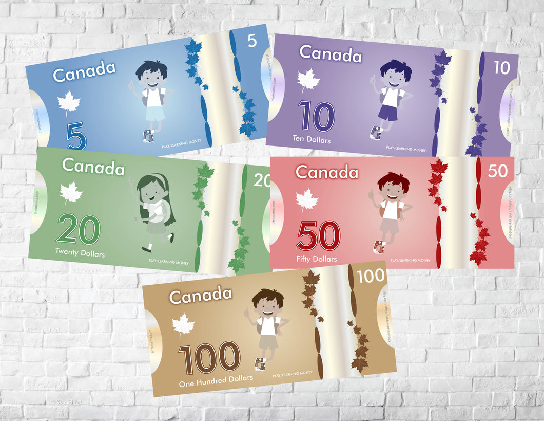 Printable Canadian Play Money