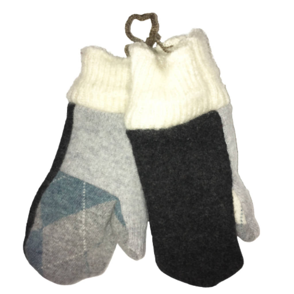 Children's Upcycled Wool Mittens Lined with Fleece | Kid's | Size 4-7 | Handmade by Warm Paws