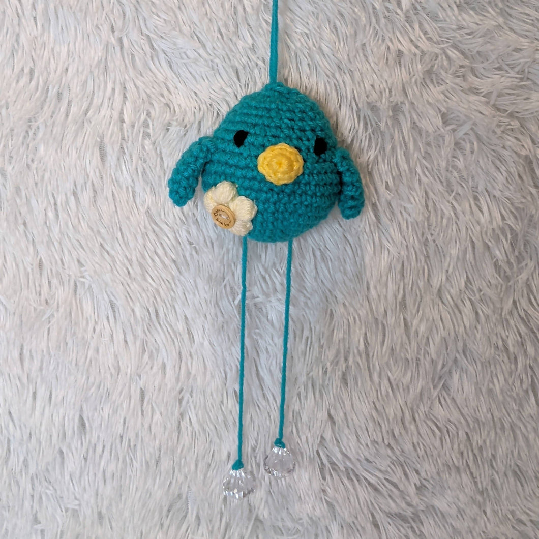 Small Crocheted Hanging Bird - Teal