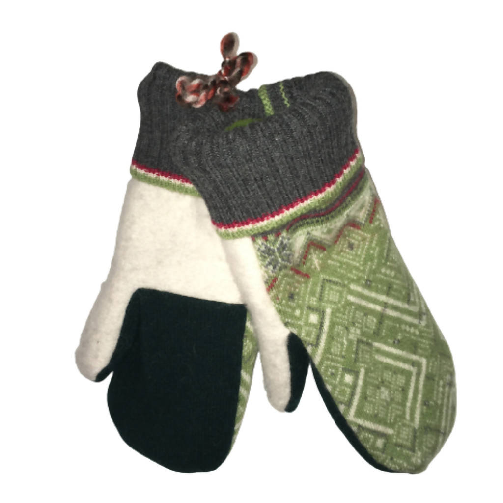 Adult Upcycled Wool Mittens Lined with Fleece | Women | Men | Handmade by Warm Paws