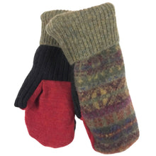 Load image into Gallery viewer, Adult Upcycled Wool Mittens Lined with Fleece | Women | Men | Handmade by Warm Paws