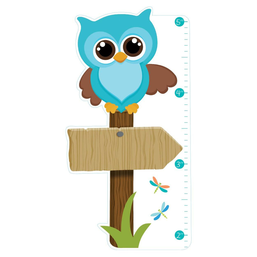 Owl Vinyl Growth Chart - Blue