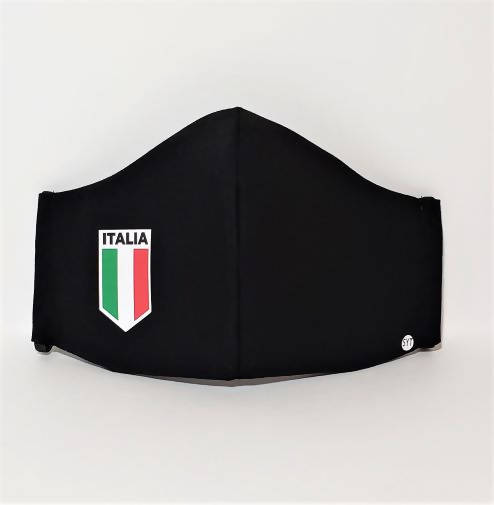 Three-Layer Pocket Mask – Black with Italia Flag