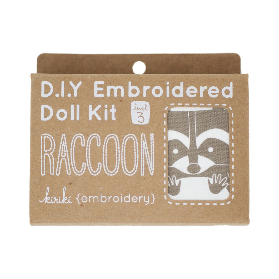Kiriki Press - DIY Embroidered Doll Kit - Raccoon