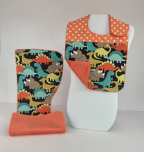 Load image into Gallery viewer, Infant Bib & Burp Cloth Set - Dinos
