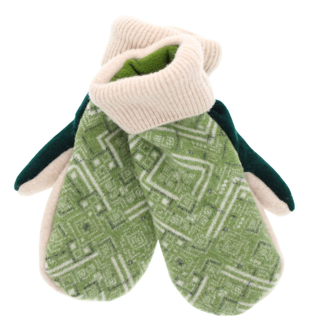 WarmPaws Upcycled Wool and Polar Fleece Mittens - Green Winter Print