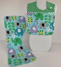 Load image into Gallery viewer, Infant Bib & Burp Cloth Set - Blue Safari