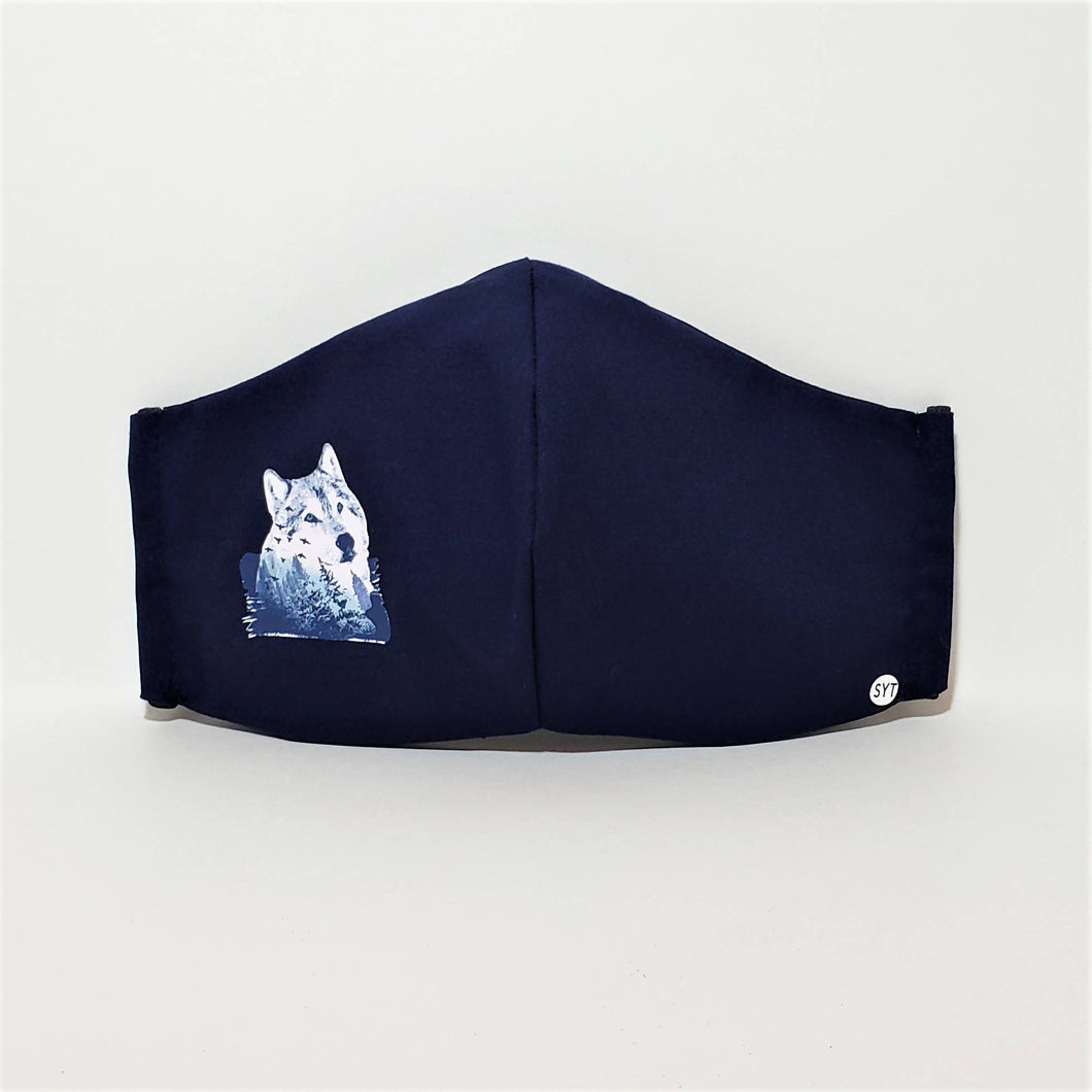 Three-Layer Pocket Mask – Navy Blue with Wolf Print