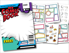 Load image into Gallery viewer, Blank Comic Book Art Strip Templates Pages - Create Your Own Cartoon Drawings