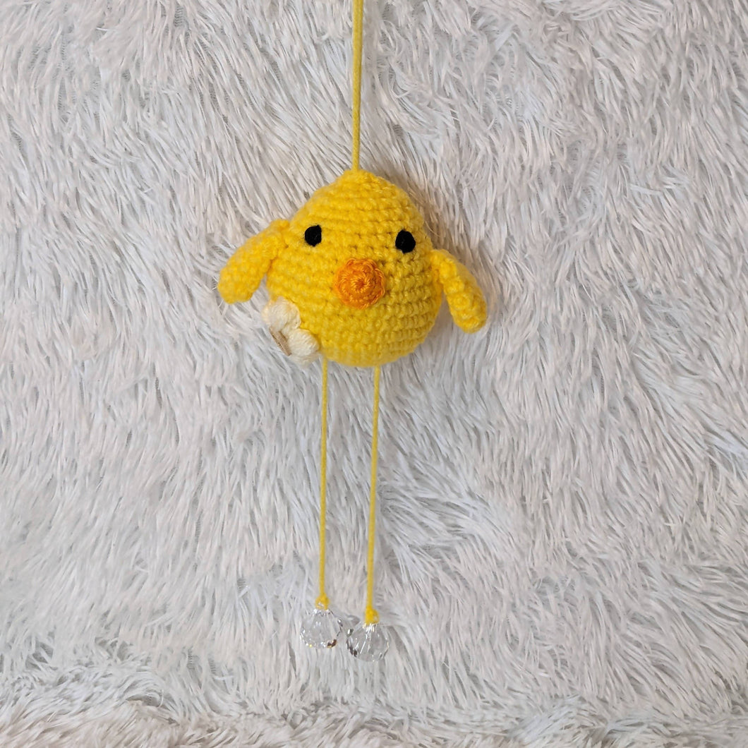 Small Crocheted Hanging Bird - Yellow
