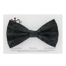 Load image into Gallery viewer, The Spiffy Dog Pet Collar Bowtie - Black Paisley Print
