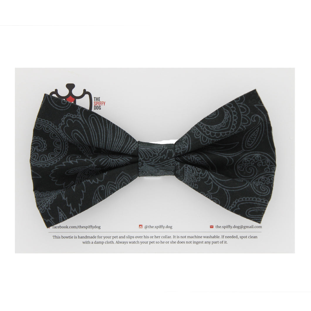 The Spiffy Dog Pet Collar Bowtie - Black Paisley Print