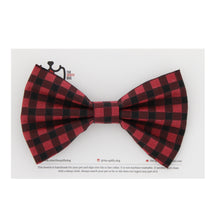 Load image into Gallery viewer, The Spiffy Dog Pet Collar Bowtie - Black and Red Plaid