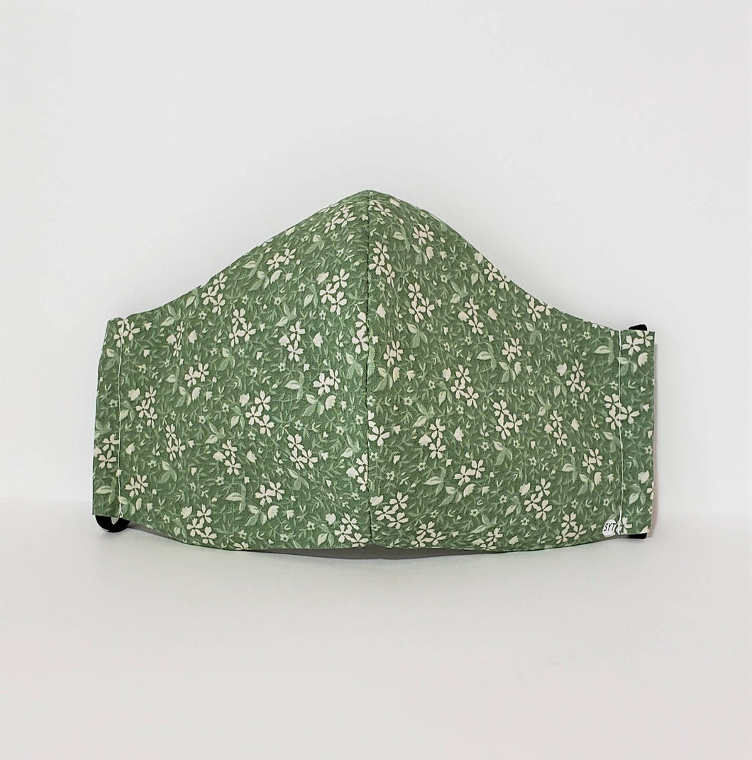 Three-Layer Pocket Mask – Green Floral