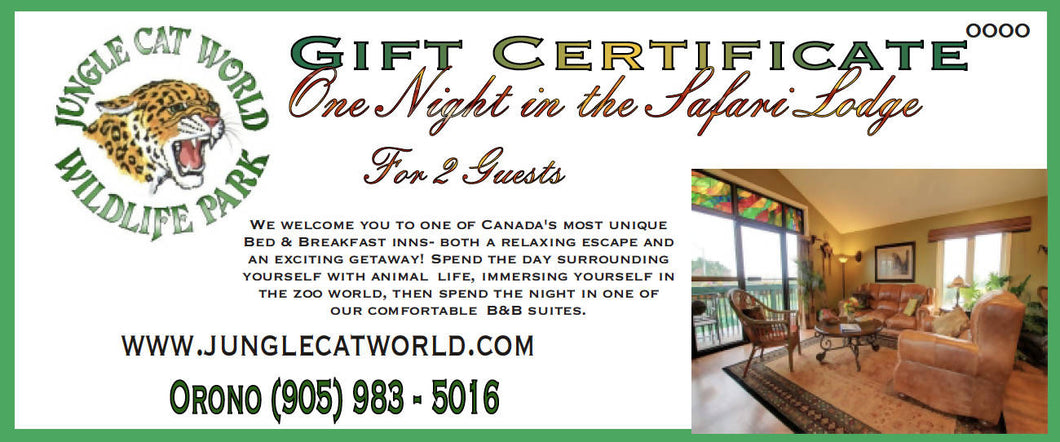 One Night in the Safari Lodge For Two - 15% off Package