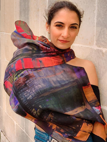 Valletta Antique Art Sunset Purples Silk Scarf