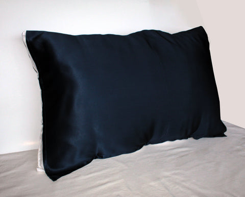 Night Blue 100% Silk Travel Pillow Topper