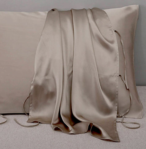 Champagne Gold 100% Silk Travel Pillow Topper