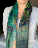 Valletta Antique Art Green Grooves Silk Scarf