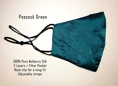 Soft Mulberry Silk Mask - Peacock Green
