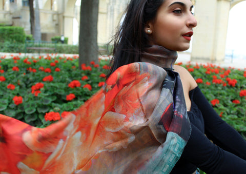 Persjana Orange Flowers Silk Scarf