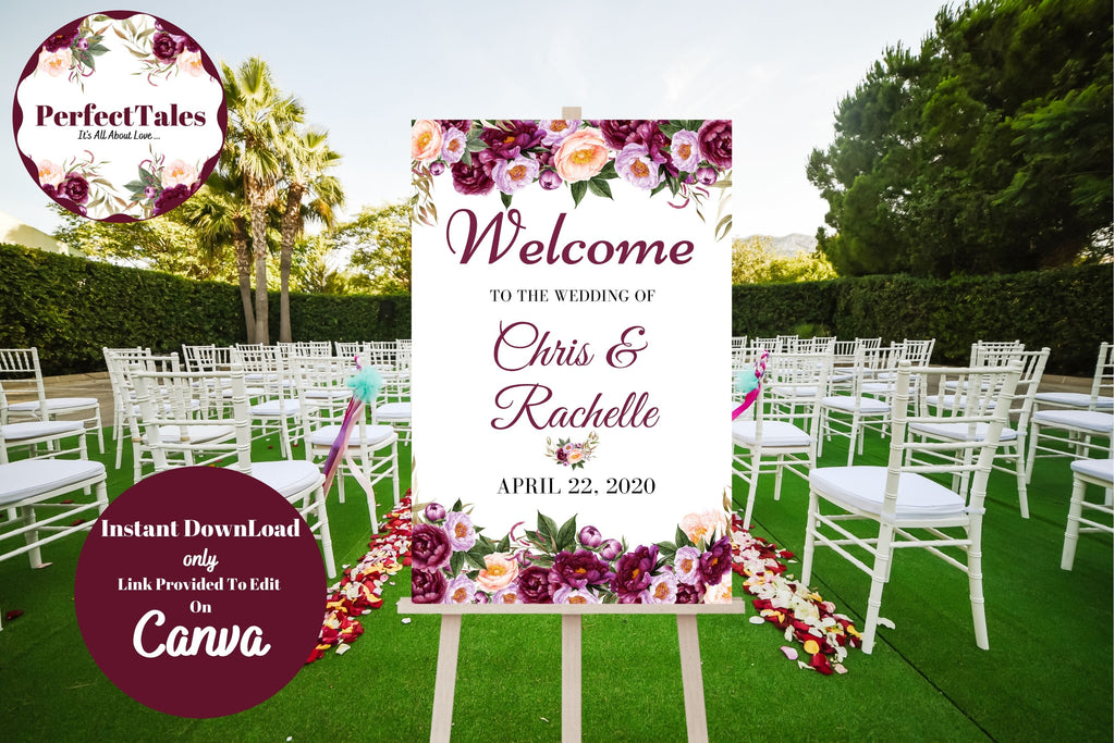 Wedding Welcome Sign - Peonies Flowers
