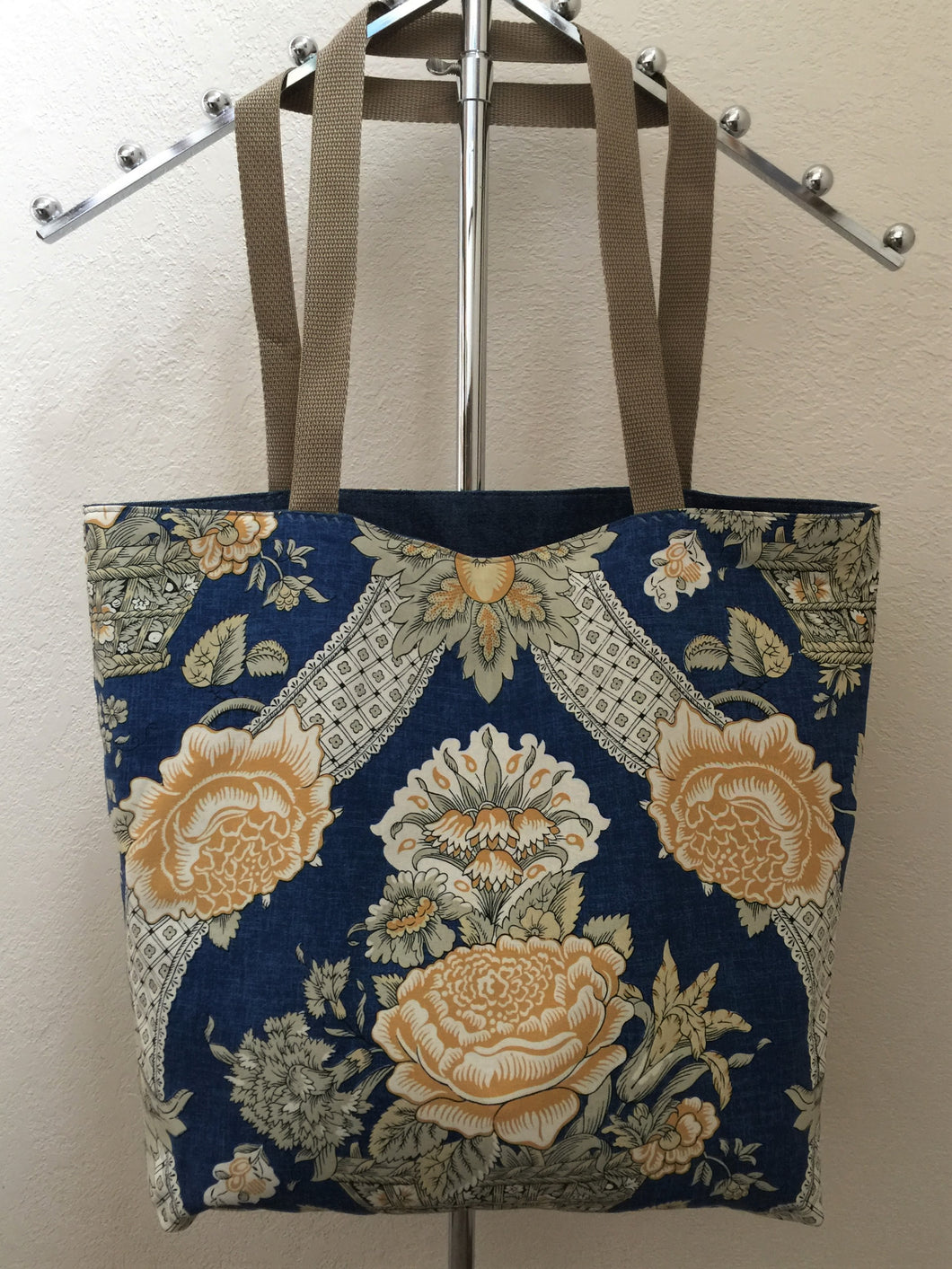 Tan and Gold Flowers in Basket on Blue Denim