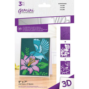 Gemini 3D Embossing Folder & Stencils - Hummingbird