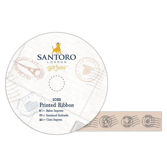 Santoro Gorjuss Printed Satin Ribbon 10m - Postal