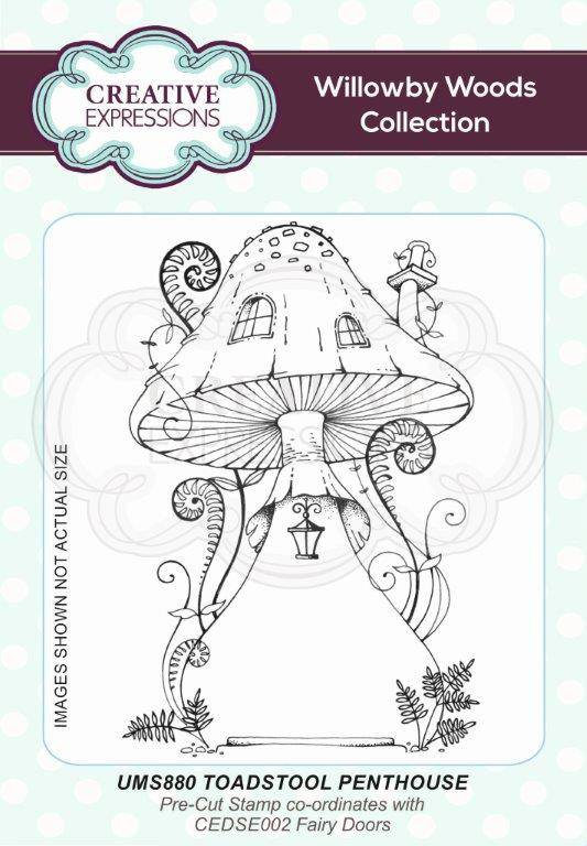 Creative Expressions Toadstool Penthouse A6 Pre Cut Rubber Stamp