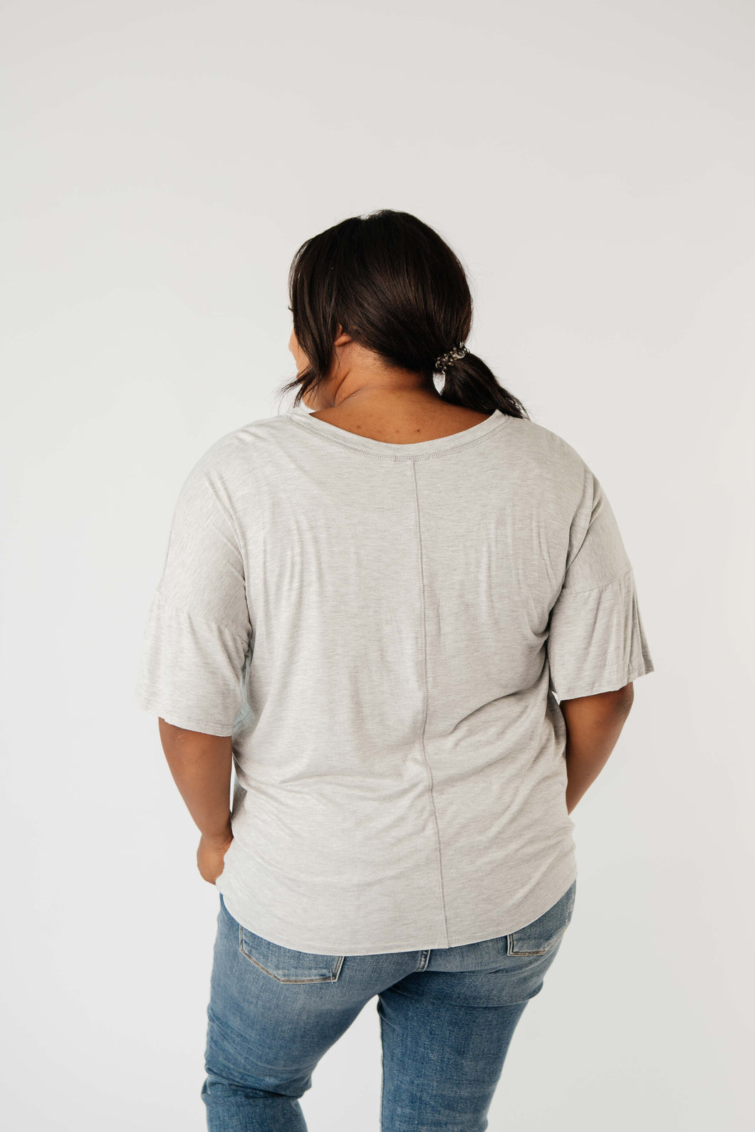 Need to Know Athleisure Vneck Heather Gray