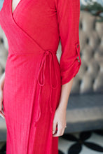 Load image into Gallery viewer, Boston Wrap Dress Red