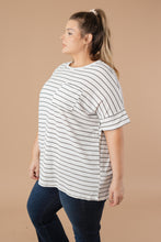 Load image into Gallery viewer, Spread the News Striped Tee Off White