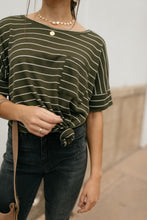 Load image into Gallery viewer, Spread the News Striped Tee in Olive