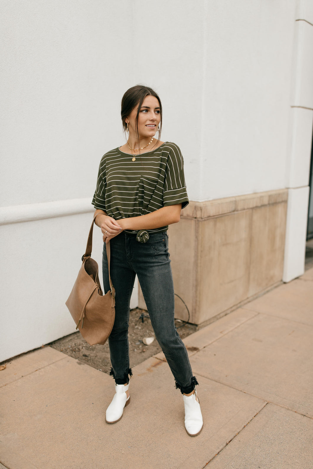Spread the News Striped Tee in Olive