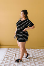 Load image into Gallery viewer, Look Twice Black Striped Romper