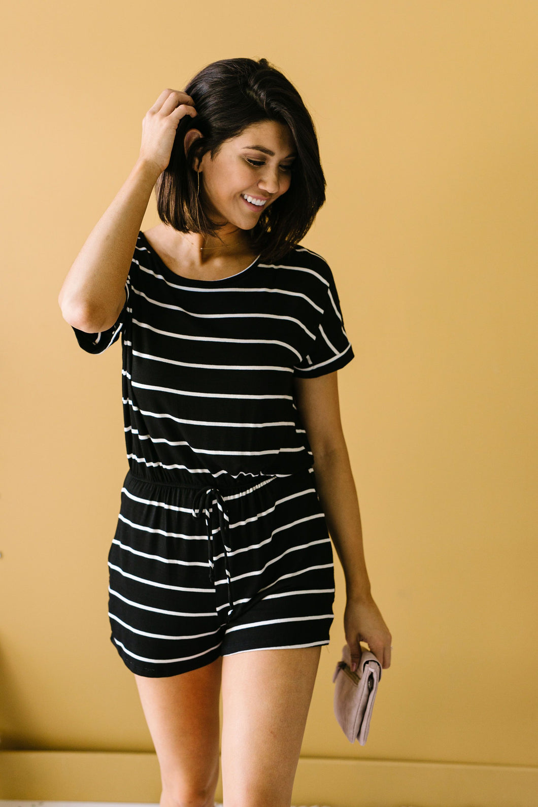 Look Twice Black Striped Romper