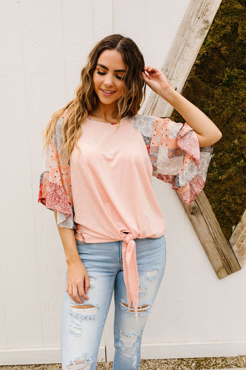 The Everyday Patchwork Top in Peach
