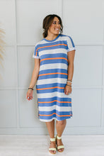 Load image into Gallery viewer, Sunny Day Striped T-Shirt Dress In Blue