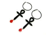 Ankh Blood Drop Hoops