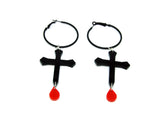 Cross Blood Drop Hoop Earrings