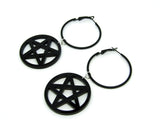 Inverted Pentagram Hoop Earrings
