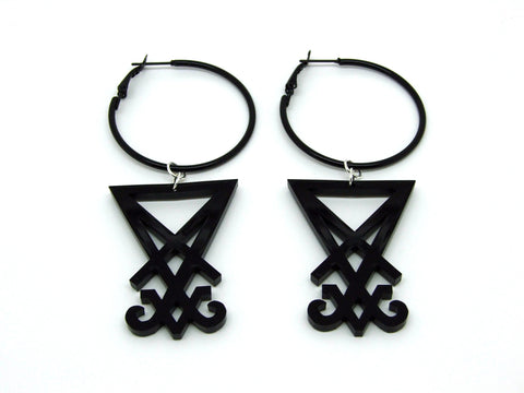 Sigil Of Lucifer Hoop Earrings