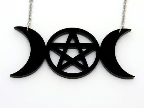 Triple Moon Pentagram Necklace