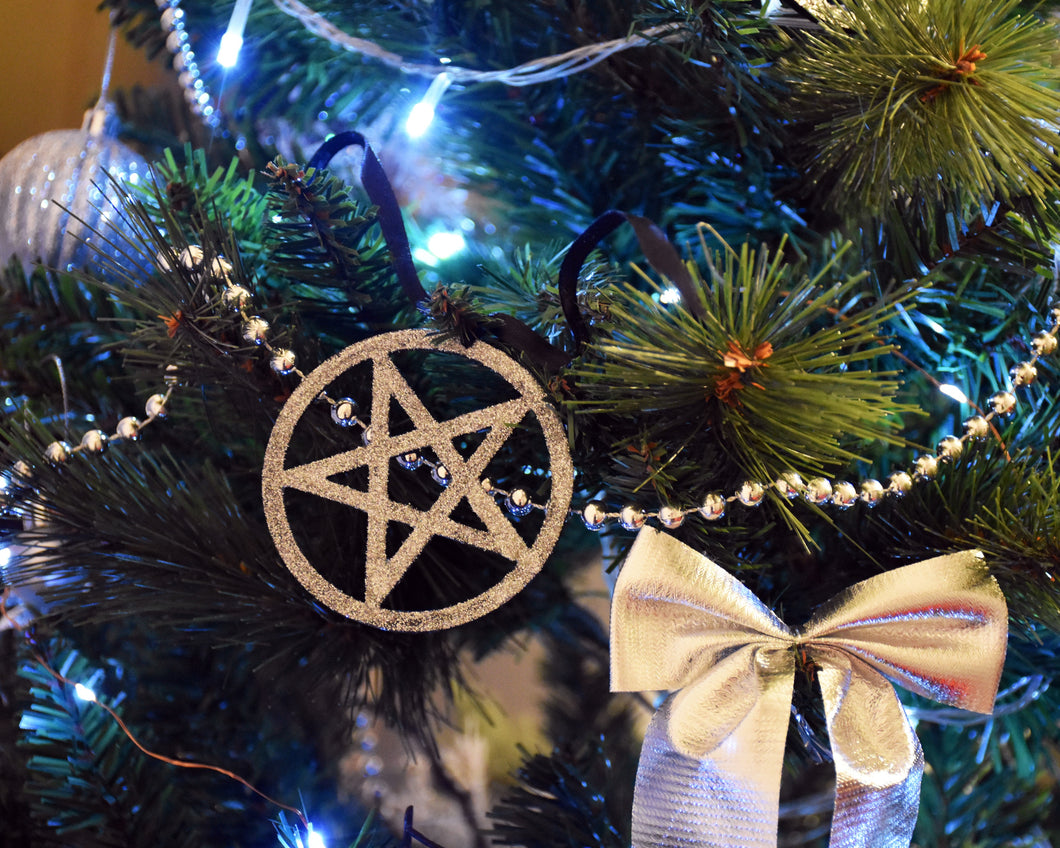 Gothic Christmas Ornaments - Glitter Pentagram